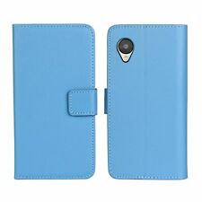 For Google Nexus 5 E980 Blue Genuine Leather Wallet Card Case Cover Stand