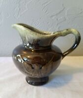 Small Vintage Dark Green Drip Hull USA Art Pottery Pitcher