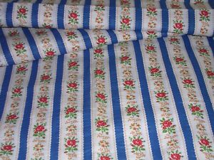 653F Vintage COTTON SEERSUCKER Type Fabric RED ROSES BLUE STRIPES 45 x 4YDS