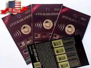 3x Anti Radiation Patch Sticker 99% Radiation Protection Gold-24K Apple Design