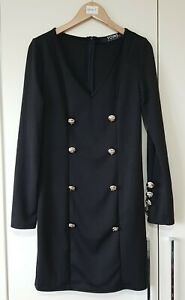 Yoins Women's Dress Size Small Black Button Front Military Style V Neck Zip Used