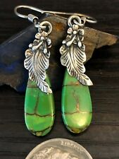 Native American Green Gold turquoise sterling silver feather drop earrings 7g