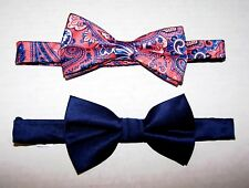 SET of 2 BOW-TIES Pre-Tied Pink/Blue Paisley & Navy-Satin Adjustable Neck-Sizes