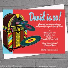 12 x Adult Birthday Party Invitations Jukebox Vinyl Record Music | H0303