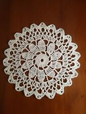 "Crochet Cotton 6"" Coaster/Doily in White Acorn Pattern ideal for Dreamcatcher"