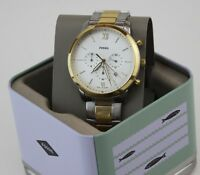 NEW AUTHENTIC FOSSIL NEUTRA CHRONOGRAPH GOLD SILVER WHITE MEN'S FS5385 WATCH