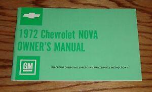 1972 Chevrolet Nova Owners Operators Manual 72 Chevy
