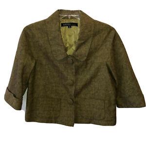 Kasper Sportswear Womens Size 10 Olive Green Snap Up Blazer Jacket Linen Blend