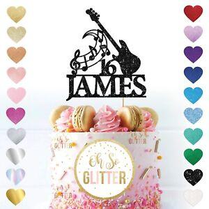 Custom Name Age Guitar Cake Topper, Personalised Glitter Music Cake Topper