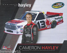 """2016 CAMERON HAYLEY """"CABINETS BY HAYLEY ARMS BY SIDE"""" #13 NASCAR CWTS POSTCARD"""