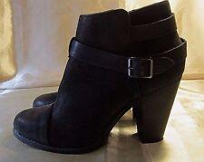 "LAUREN CONRAD BLACK ANKLE BOOTS w/Buckled Straps, Side Zippers, 3.5"" Heels - 7M"