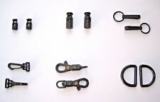 1,2 or 6 BLACK PLASTIC CORD LOCK, TOGGLE END, CLASP CLIP, SWIVEL HOOK, D RING.