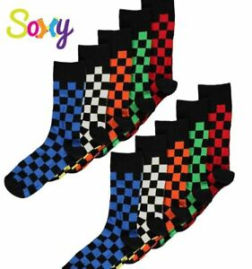 10 Pairs Mens/Boys Cotton Rich Designer Check Socks Sizes 9-12 12-3 4-6 & 6-11