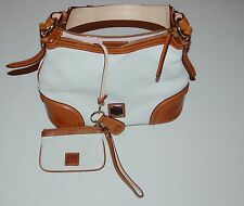Dooney & Bourke All Weather Leather Satchel Bag w/ Accessories Ivory Brown $349