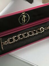 Juicy Couture vintage starter charm bracelet rose gold pink Crystals box
