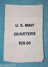EMPTY U.S. MINT $25 QUARTERS COTTON CANVAS HEAVY DUTY COIN BAG EMPTY NO COINS