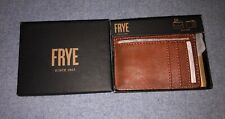 FRYE  Brown  Leather Key Card /  ID Card Case Wallet With Key Ring NEW