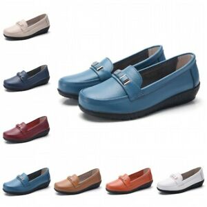 35-44 Womens Ladies Slip On Murse Mom Shoes Casual Loafers Moccasin PU Leather D