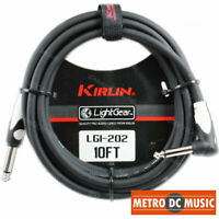 Kirlin 10 ft Right-Angle Guitar Instrument Patch Cable Cord Free Tie 1/4""