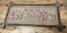 Antique Needlepoint What is Home Without a Mother Framed Leaves Motto Charming