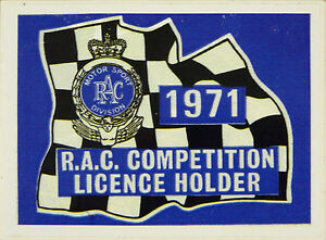 1971 RAC Competition Licence Holder Rally / Race / Motorsport Sticker Decal