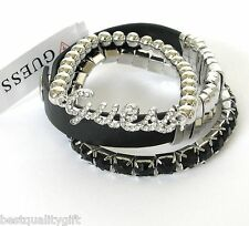 NEW GUESS SET OF 3 SILVER TONE STRETCHY CRYSTAL+BLACK GEMS+CUFF BRACELET
