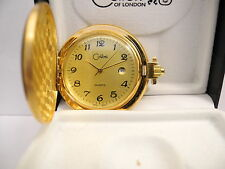 COLIBRI GOLD FACE GOLDTONE POCKET WATCH DATE NEW  REDUCED
