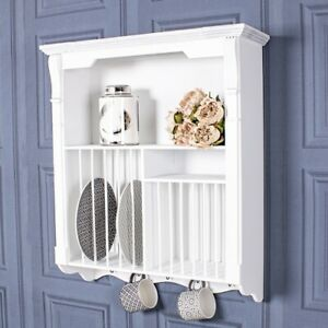 White Wall Mounted Plate Rack Unit Storage Hooks Shelf Holder Wood Kitchen Home