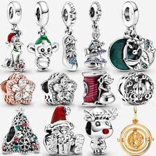 Christmas Disney Cinderella Mickey Mouse 925 Silver Charm Gift Fiit Pandora NEW