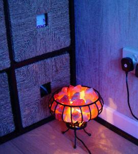 HIMALAYAN NATURAL SALT LAMP CRYSTAL PINK ROCK SALT LAMP HEALING BASKET LAMP