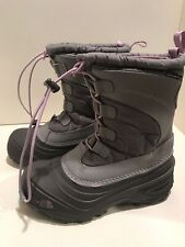 The North Face Alpenglow IV Waterproof Snow Boots Youth Sz 2 Silver GreyLupine