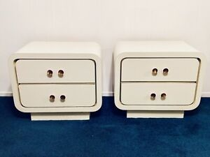 Vintage 1980's Karl Springer Style Art Deco MCM White Lacquer Nightstands