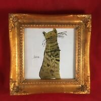 Andy WARHOL Green Cat Print Repro in Vtg Ornate Gold Wood Frame POP Art 7 x 7