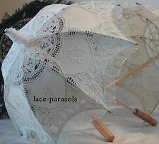 SMALL Battenburg Lace Parasol w/Organza Lace WHITE or ECRU