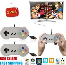 2 x USB Controller For PC/Mac SNES Super Nintendo Games Retro Classic Gamepad US