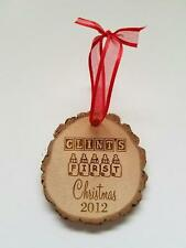 Personalized Baby's First Christmas Newborn Keepsake Wood Christmas Ornament