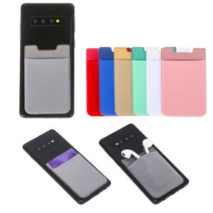 Polyester Cell Phone Wallet Case Credit ID Card Holder with Self-Adhesive