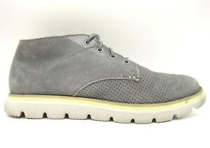 Skechers On The Go Gray Leather Casual Lace Up Chukka Ankle Boots Men's 12