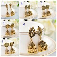 Vintage Bohemian Style Gold Earrings Indian Drop Bell Women's Earrings Jhumka
