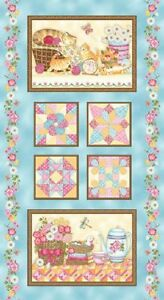 """Cotton Fabric Panel, 24"""" x 43"""" Cats, Quilt Blocks, Panel by Henry Glass"""
