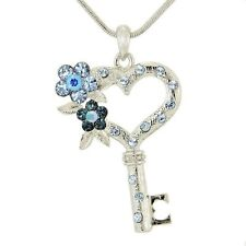 Heart Key Flower W Swarovski Crystal Blue New Pendant Necklace