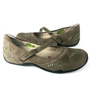 Ahnu Gracie Pro Mary Jane Sz 9 Green Sage leather suede comfort yoga