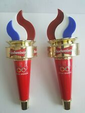 Vintage Pair of Budweiser Olympic Torch Beer Tap Handles - 1996 Olympics