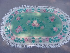 Vintage French Country Oval Rug Royal Palace Damask Aubusson 5'1 x 3'1