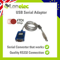 QUALITY USB 9 PIN RS232 SERIAL ADAPTOR CONVERTER GENUINE FTDI FT232RL - WORKS!