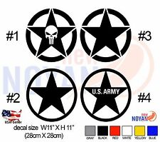 2 X US Army Military Star Decal for Jeep, Cherokee, Wrangler.(Sticker) 11 X 11
