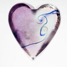 Robert Held Art Glass Paperweight Heart Iridescent Amethyst Hand Made Canadian