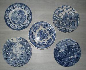 MIX & MATCH blue TOILE transferware dessert salad plate Myott Wood England