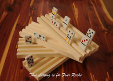 4 HANDMADE WOODEN DOMINO HOLDERS MEXICAN TRAIN 4 ROWS ON EACH RACK