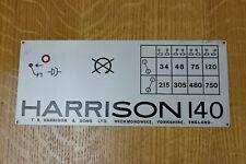 Harrison 140 Lathe Nameplate/Speed Chart. 34-750rpm